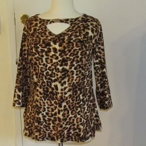 JMS Leopard Keyhole Top With Bar Accent - 1X NEW